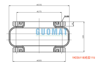 W01-358-7469 Single Convoluted Air Spring GUOMAT 1H235118